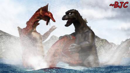 [MMD] Godzilla vs. Titanosaurus, water battle