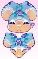 Blue Rose Grace Pillow Heads