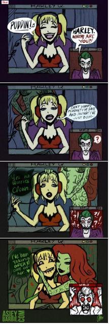 Harley-quinn,joker,and poison ivy comic