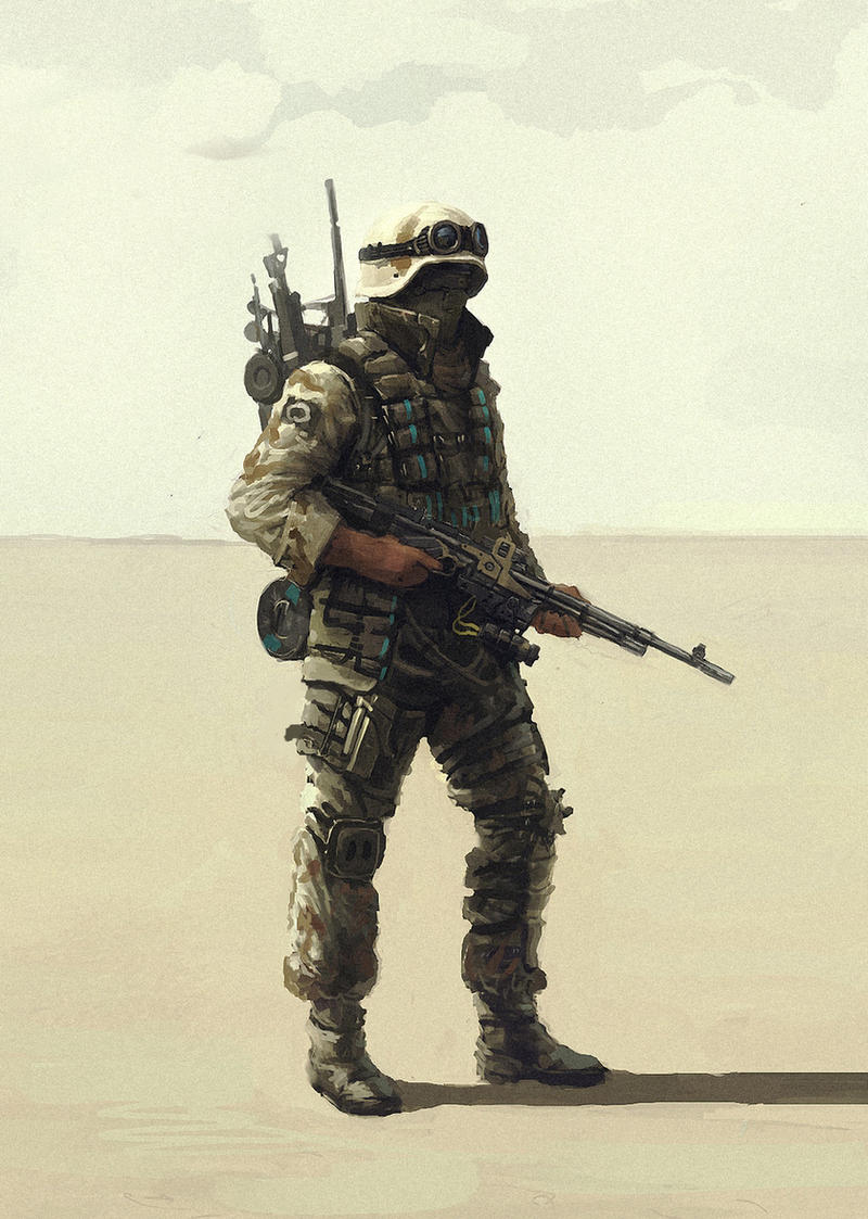 soldier in the desert by Gottsnake