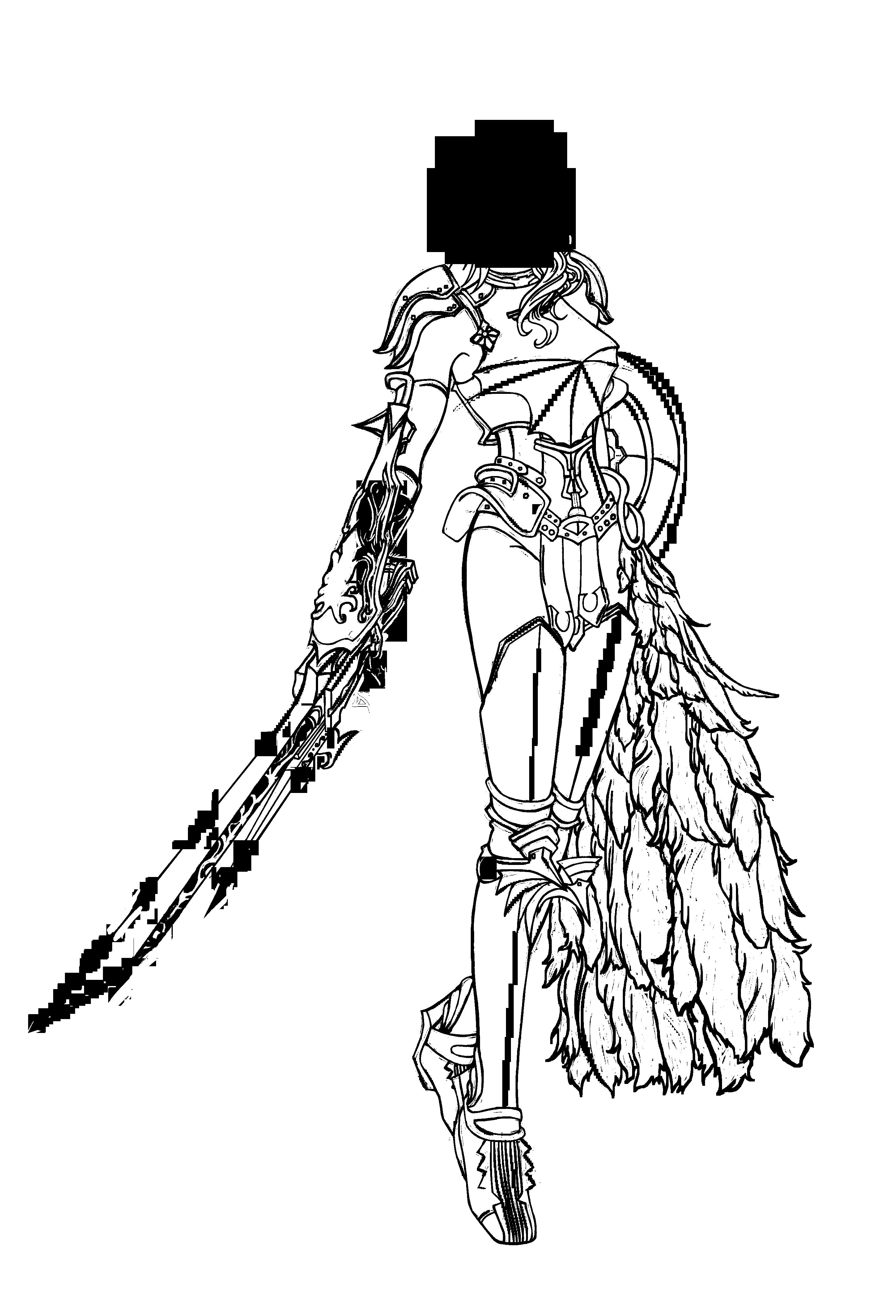 Single Line Character Art : Anime lightning farron line art by gem on deviantart