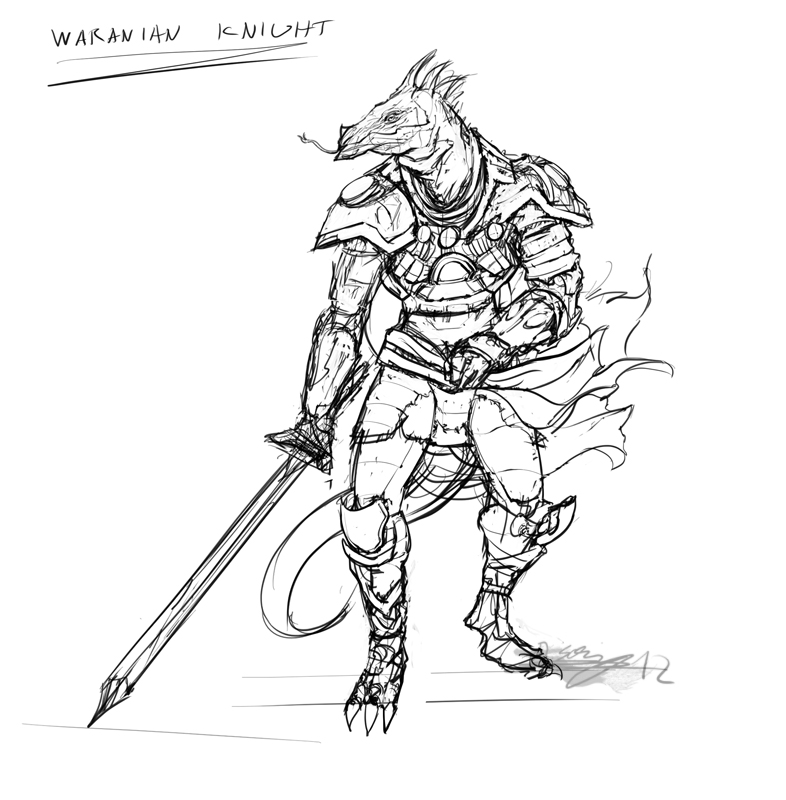 Line Drawing Knight : Rough lineart a waranian knight by brollonks on deviantart