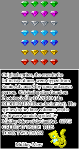 Rotating Chaos Emerald Sprites by Midday-Mew