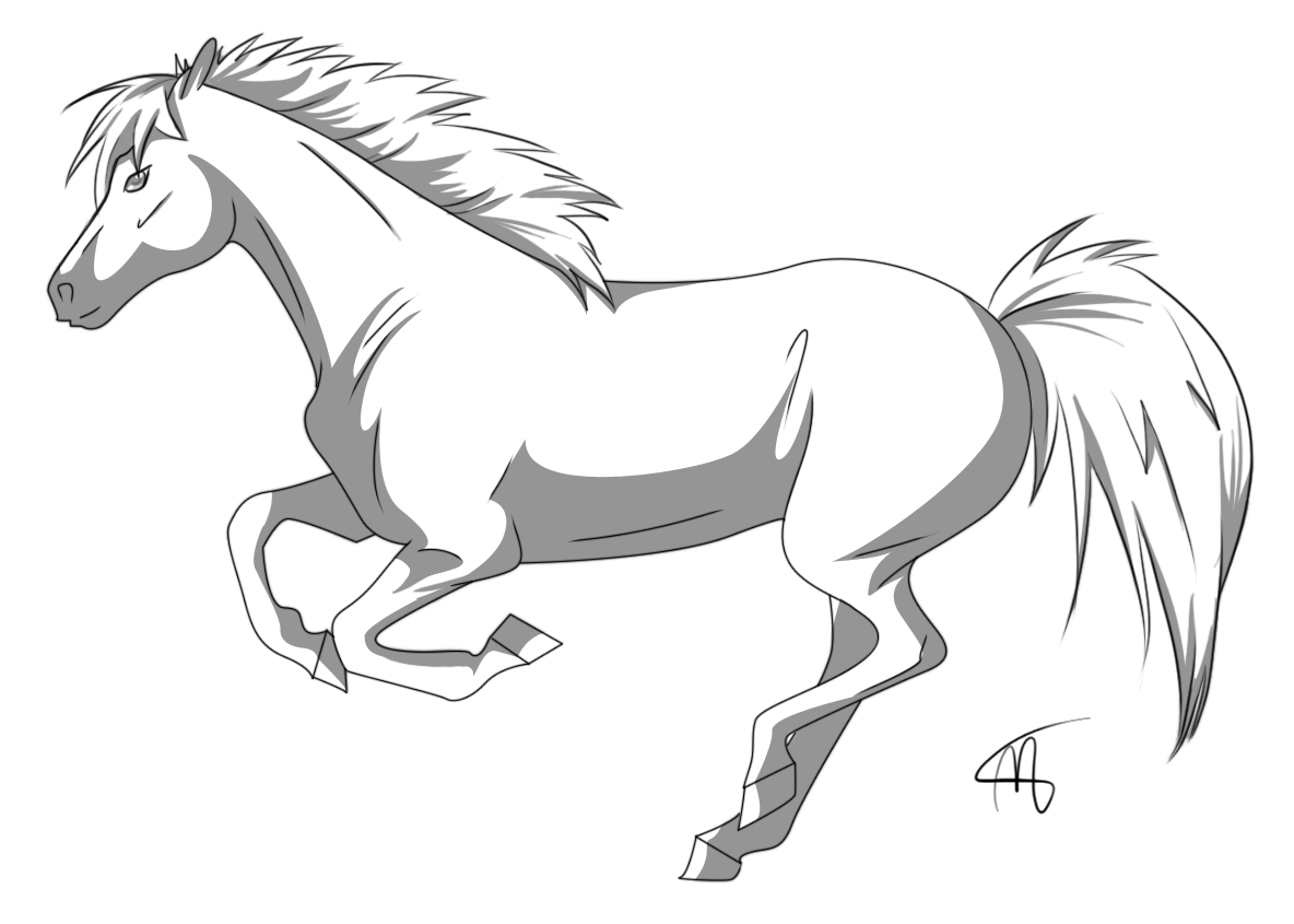 Line Art Shading : Free horse lineart shading by margony on deviantart