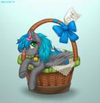 Pony in a basket by Margony