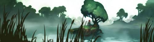 foggy lake by DawnElaineDarkwood