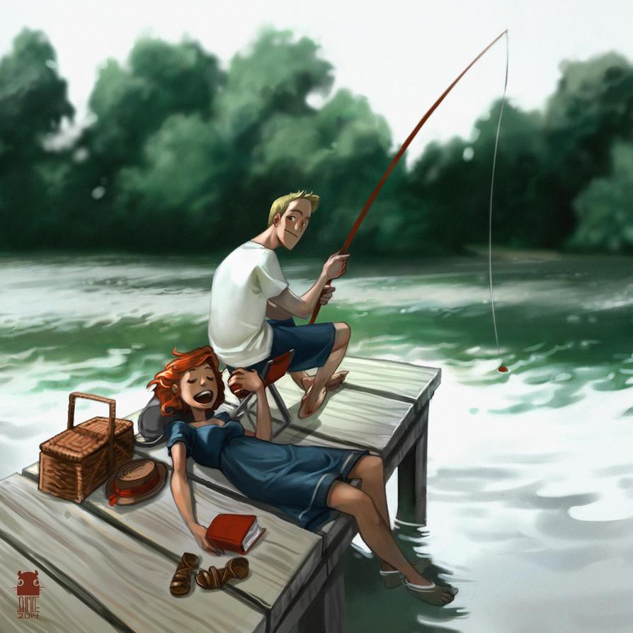 summer fishing by DawnElaineDarkwood