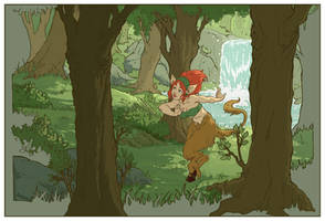 satyr in the forrest