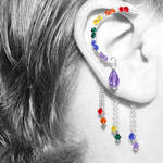 Rainbow Crystal Ear Wrap- SOLD