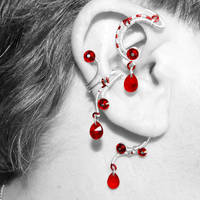 Silver and Red Ear Wrap and Cuff Set v2- SOLD by YouniquelyChic