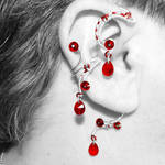 Silver and Red Ear Wrap and Cuff Set v2- SOLD