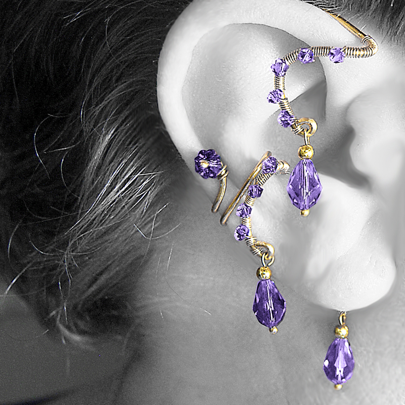 Purple Ear Wrap and Cuff Set v7- SOLD by YouniquelyChic