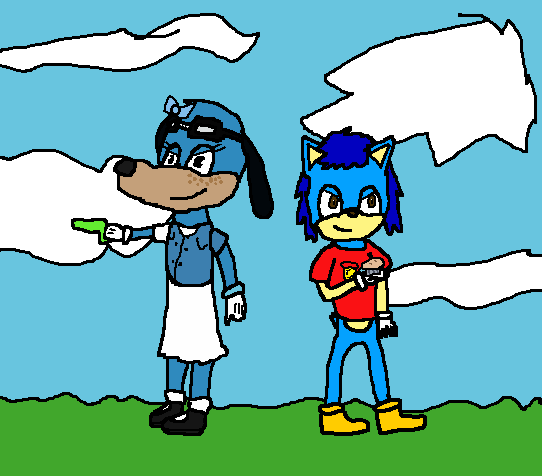 Two Blue Toon Dogs by SparkleWolf404