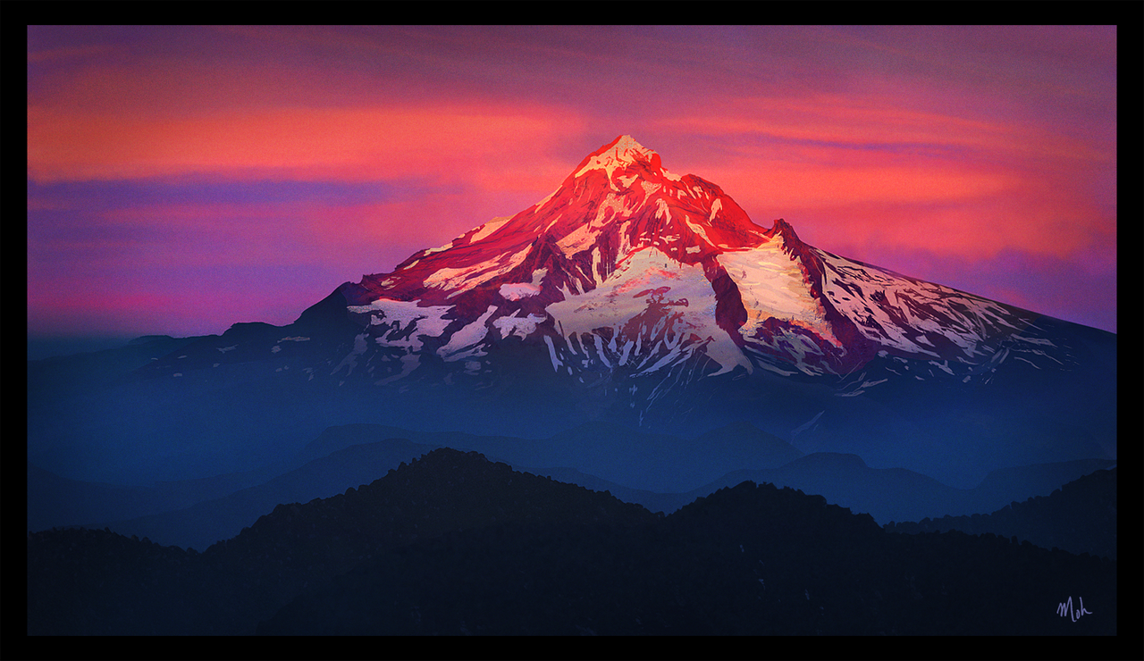 Sunset On Mount Hood Oregon Landscape Study By Mohq On