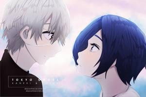 Kaneki and Touka - Tokyo Ghoul by allwewanttobe