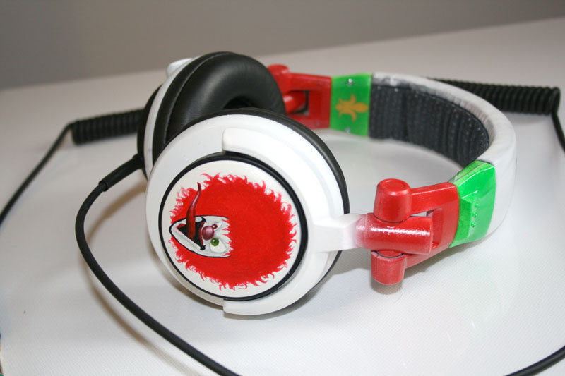 side of custom DJ headphones