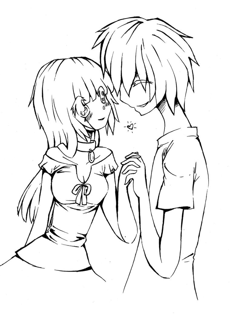 Anime Couple Playing Video Games Drawing Apple And Orange Lineart