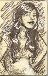 Self-Portrait Sketch in Sepia by Capital-J
