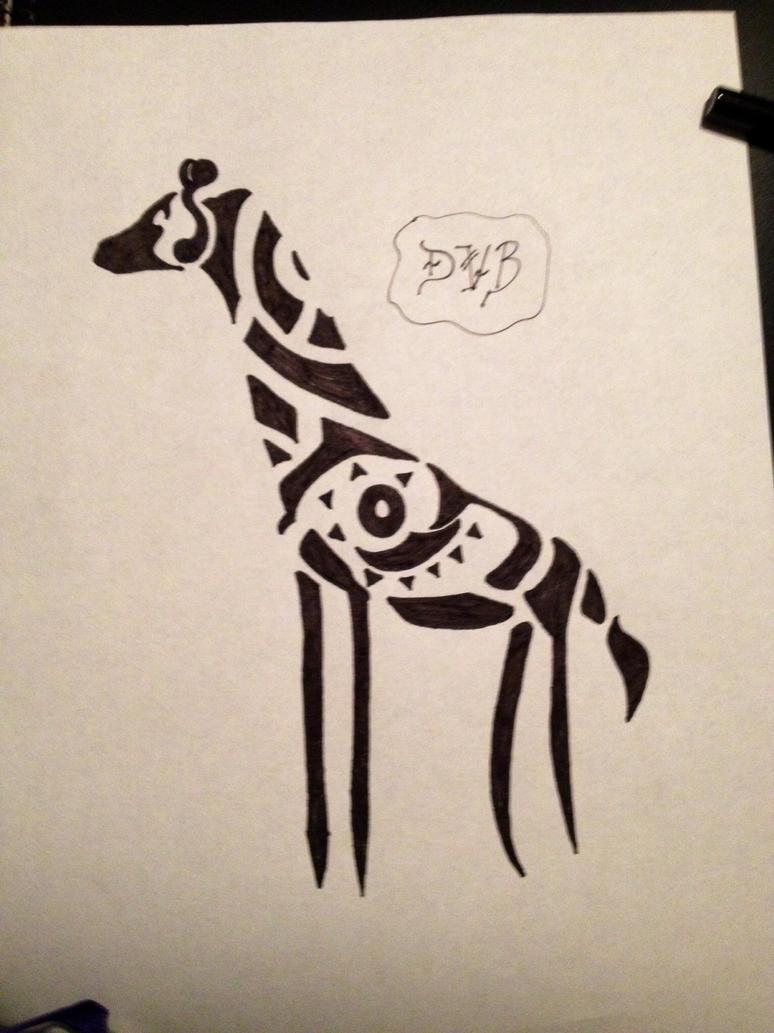 Tribal giraffe tattoo - photo#5