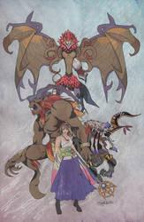 Lady Summoner Yuna and her Aeons by Jaydenwolf