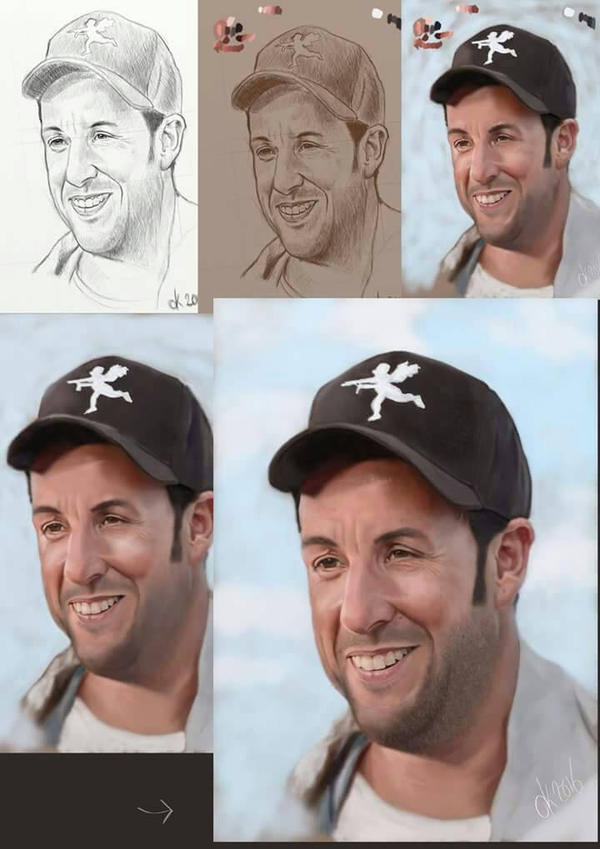 step by step painting Adam Sandler  by dannykohn