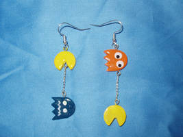 pac-man earrings orange by KittyAzura
