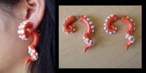 Fake Gauge Tentacle Earrings