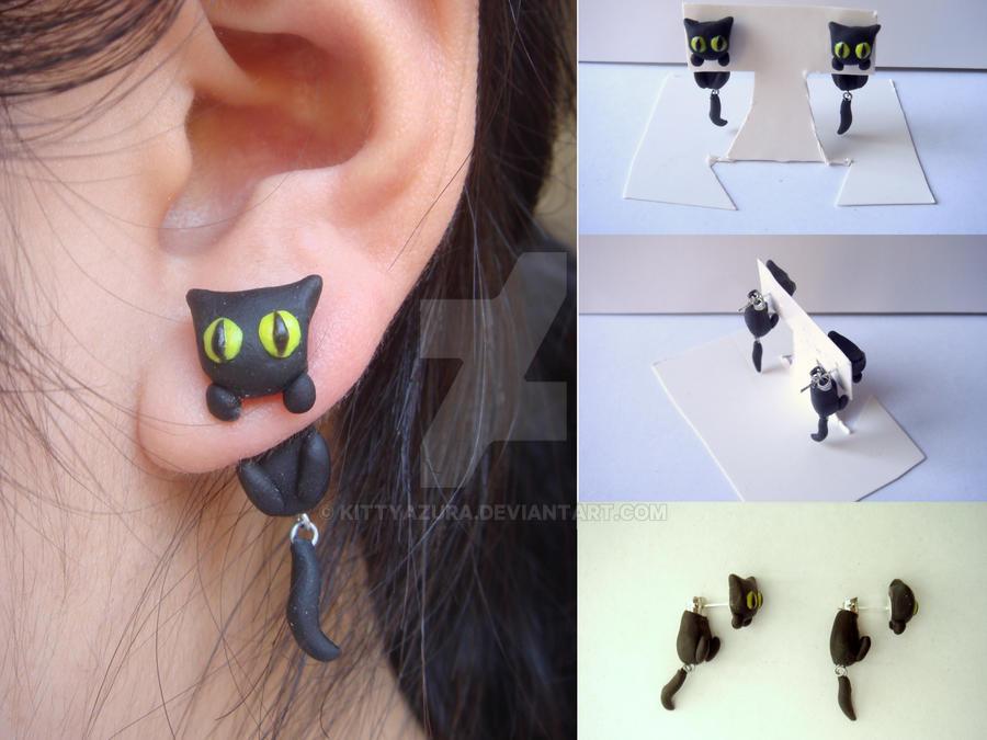 Black Cat Clinging Earrings by KittyAzura