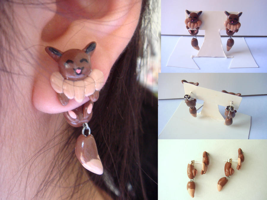 Clinging Eevee Earrings by KittyAzura