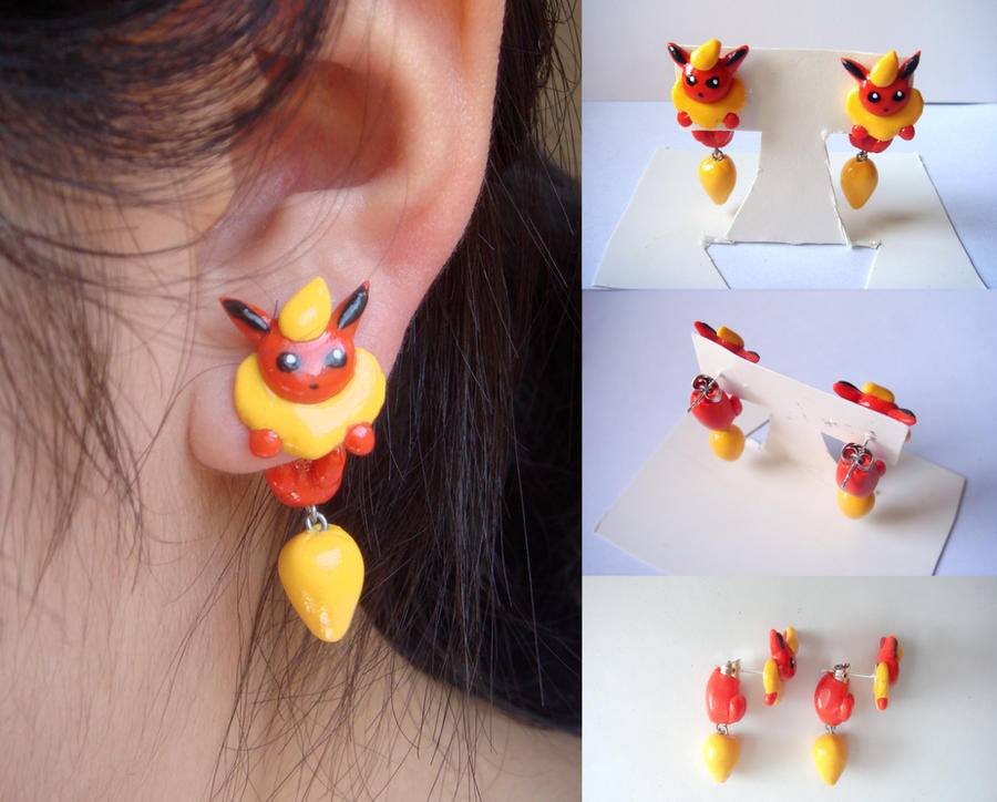 Clinging Flareon Earrings by KittyAzura