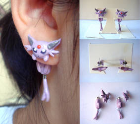 Clinging Espeon Earrings by KittyAzura