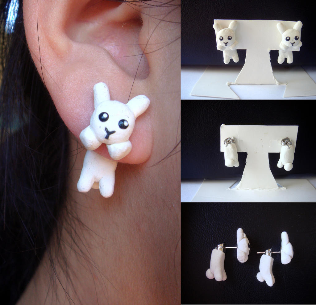 Clinging White Plush Bunny Earrings by KittyAzura