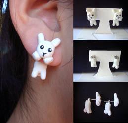 Clinging White Plush Bunny Earrings by KittyAzura
