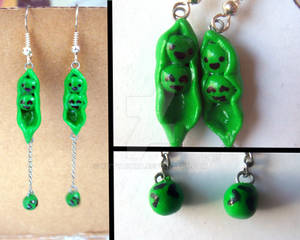 Pea-pods and Falling Peas Earrings (Design 1)