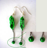 Pea-pods and Falling Peas Earrings (Design 2)