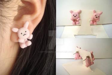 Cute Two-Part Pink Bunny Plush Earrings