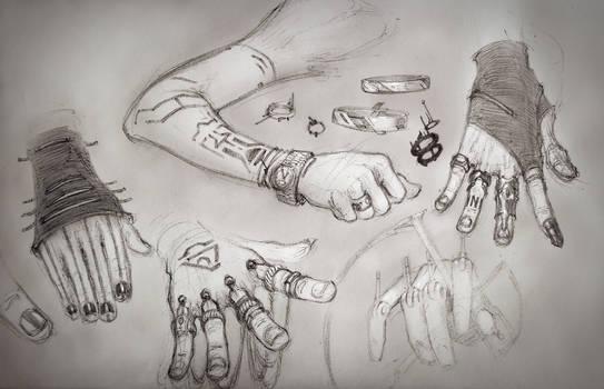 Random design tangent - hands