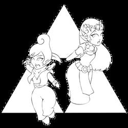 Tetra and Zelda Chibis Lineart