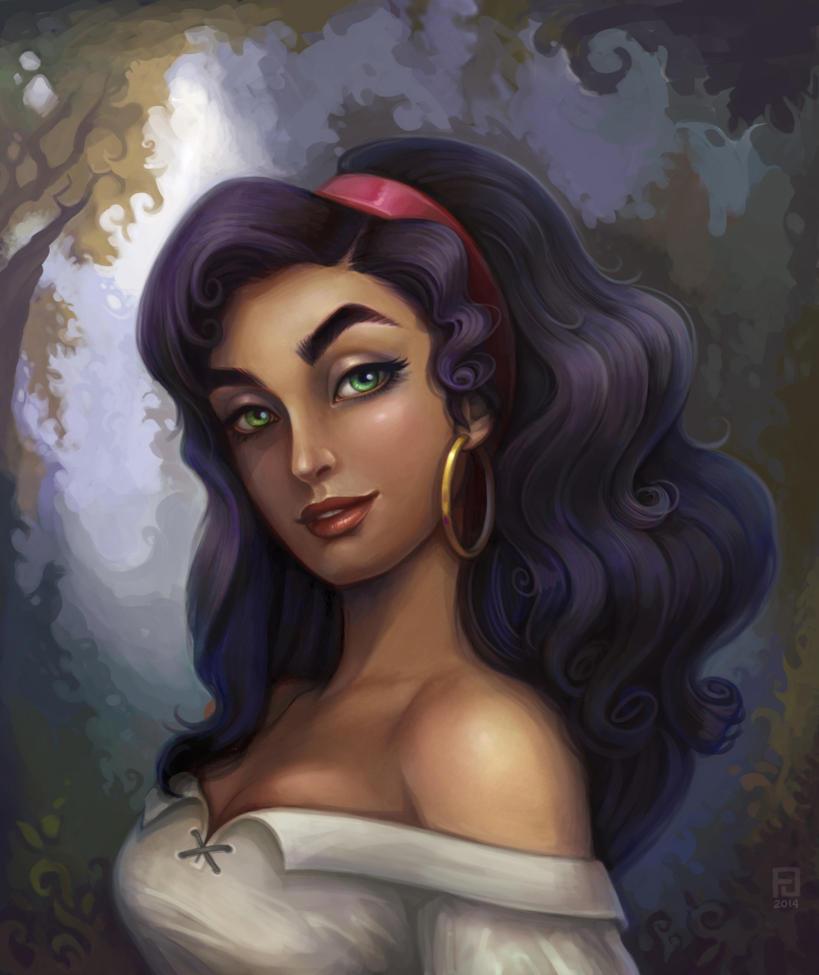 Esmeralda Disney Pictorial Painting Portrait By Falinor4eg