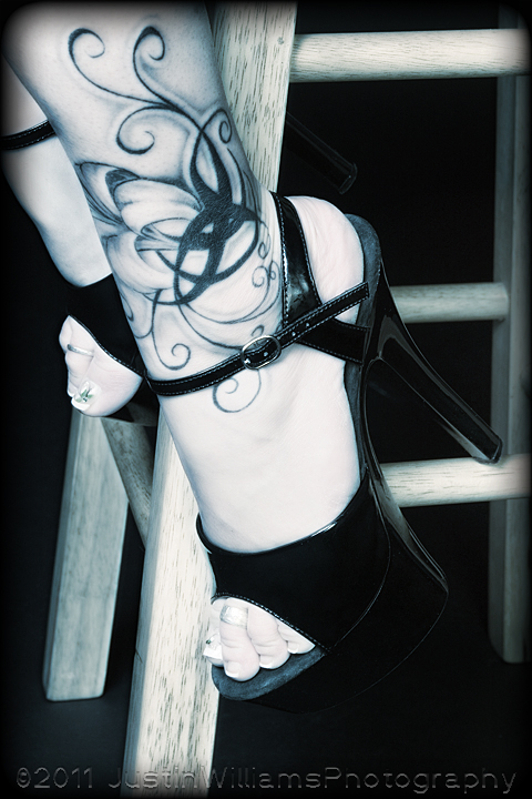 Stool, tattoo, and Heels by ThruTheAshes