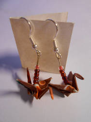 Origami crane earrings red by prusce