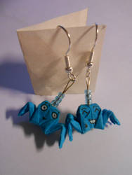 Origami blue crab earrings by prusce