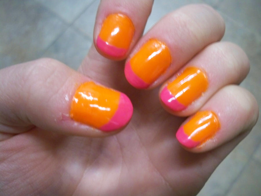 Neon Orange and Pink French Mani by Lolabri on DeviantArt