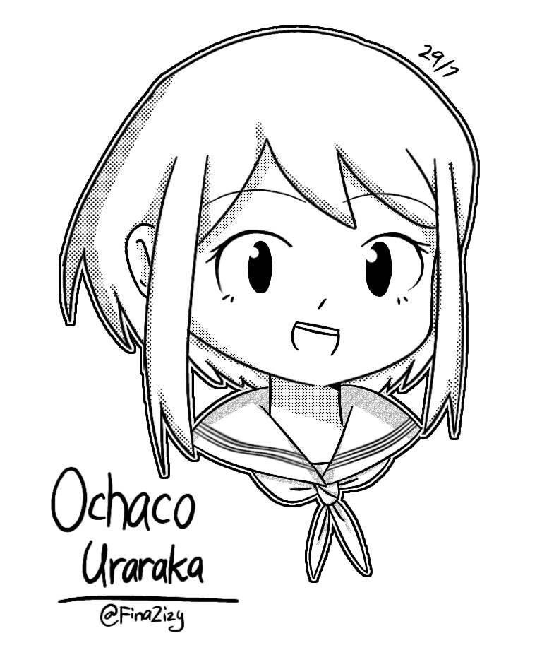 Ochaco Uraraka [b/w] by FinaZizy