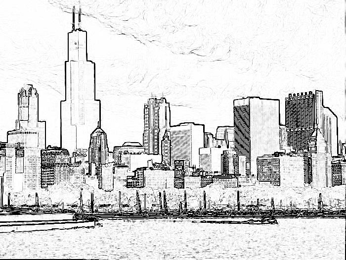 How To Draw Chicago Skyline Chicago Skyline Coloring Page