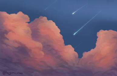 Cloudy Skies Amongst Shooting Stars
