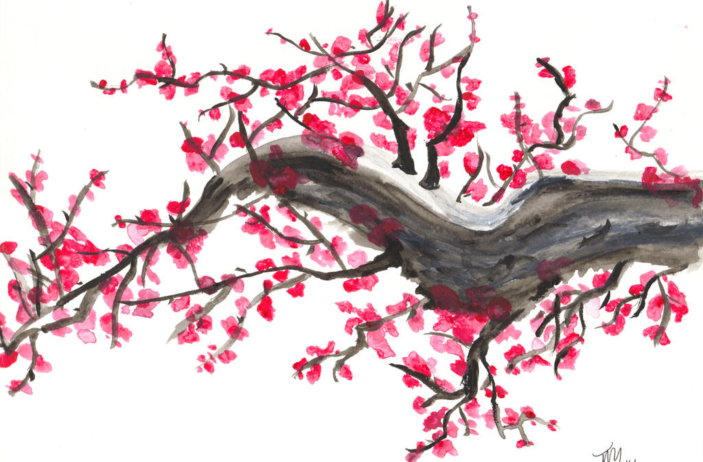 Japanese cherry blossom  by  Japanese Cherry Blossom Landscape Painting