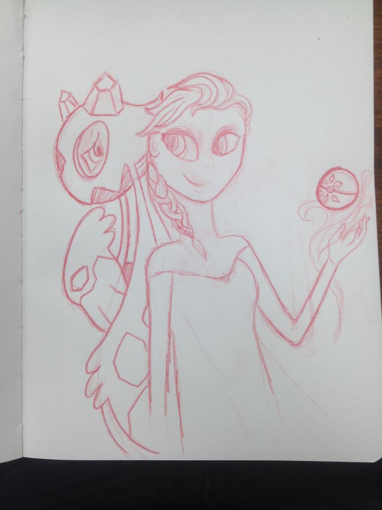 Elsa and her Froslass by SweetStrokesStudios