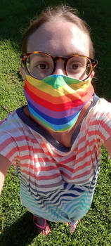 Me Wearing A Rainbow Mask With A Rainbow Shirt