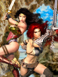 Crossover: Wonder Woman and Red Sonja II by Zulubean
